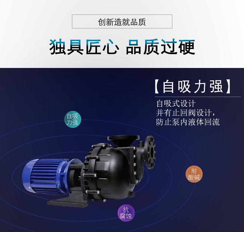 台风牌自吸式耐酸碱泵的自吸设计原理