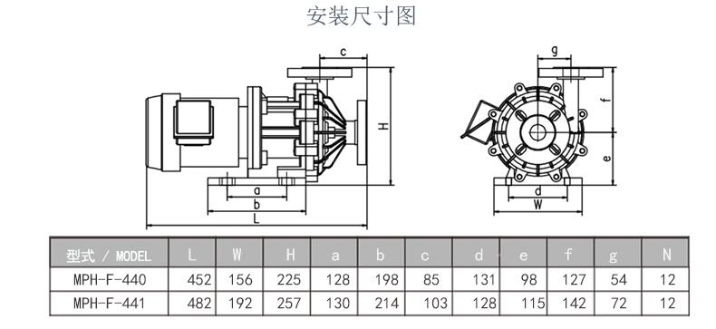 耐酸碱磁力泵安装尺寸图1