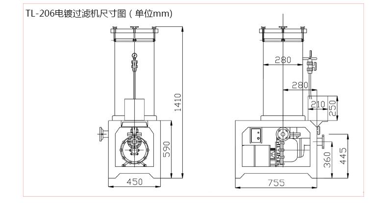 化学药液过滤机206安装尺寸图
